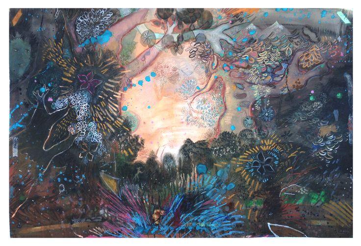 LAS PUERTAS 150X100Cm,  #art, #watercolor, #forest, #woods, #nature, #scene, #trees, #monky, #color, #contemporary art, #sunset, #árboles, #naturaleza, #acuarela sobre papel, #dusk
