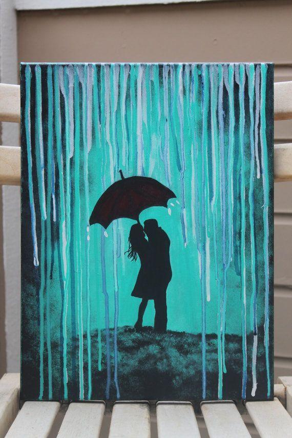 Original Red Umbrella Silhouette Couple in Rain by DannaLivingston