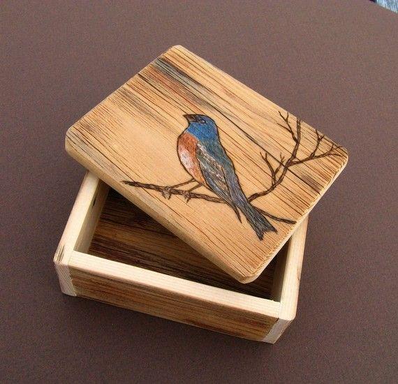 Small Barnwood Trinket BOXwith woodburnt by ParadiseHillDesigns, $27.00