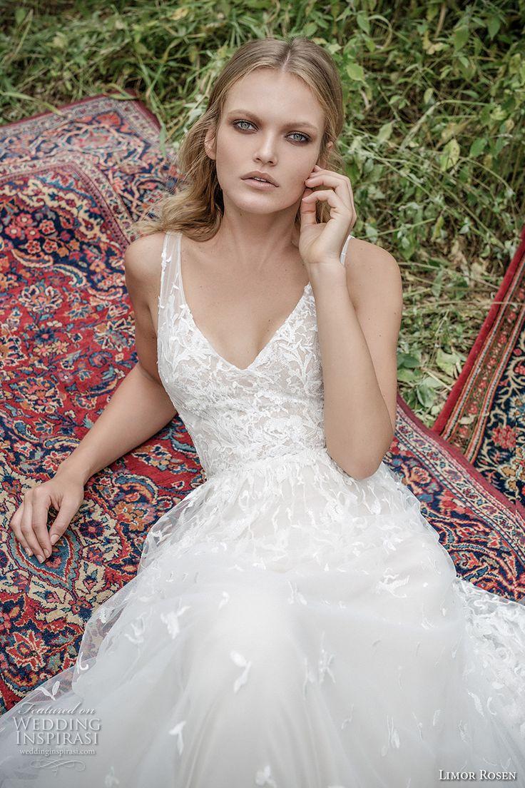 limor rosen 2017 bridal sleeveless v neck heavily embellished bodice angelic…