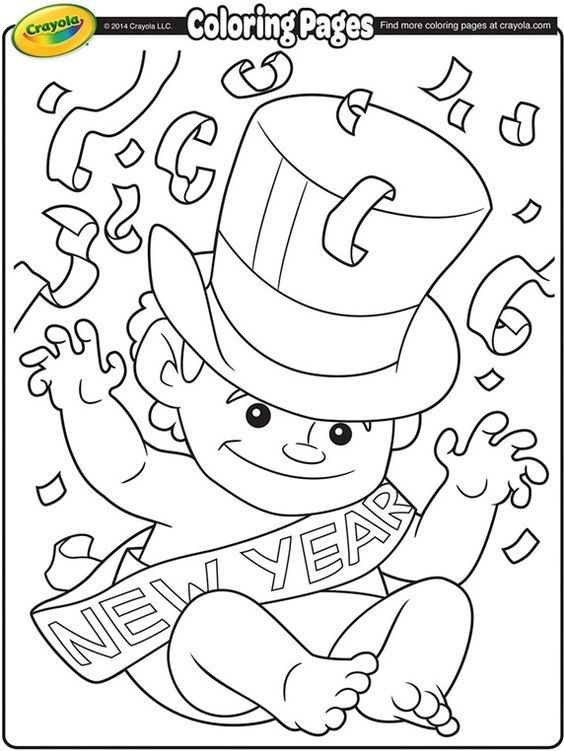 New Year Baby Coloring Page 2019