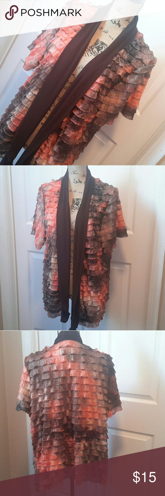 New Directions Ruffled Dressy Jacket Shimmering orange & brown ruffled topper jacket. Wear over a cami or solid color top. Normal wash wear Measurements in photos new directions Jackets & Coats