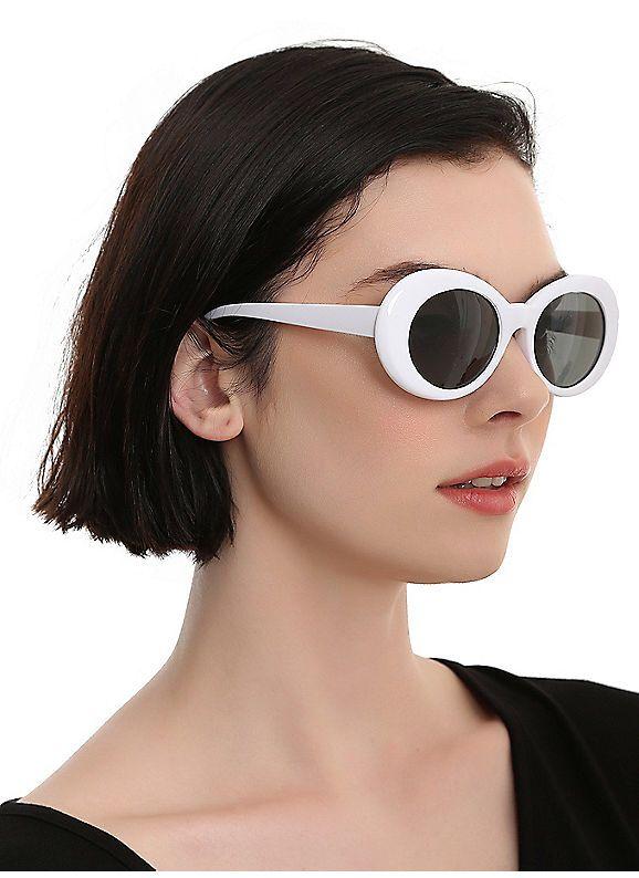 ec046d6bf0d6e Hot Topic   White Oval Retro Sunglasses