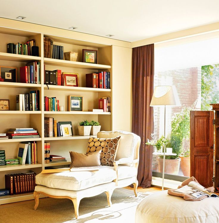 6 salones con librer a salones for Pinterest decoracion salones