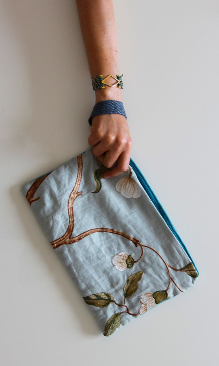 Snowtree, 2-sided wristlet/clutch by FabofABag on Etsy
