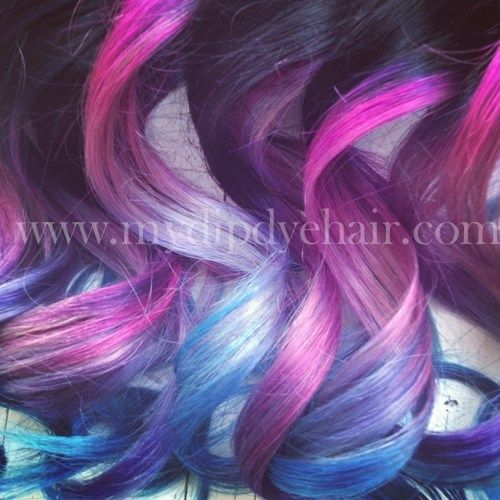 Ombre Hair,Tie dye Hair, Black Hair Extensions, Pink, Lilac, Lavender,