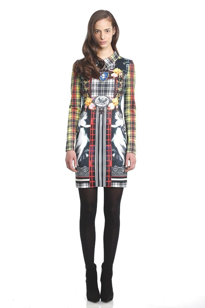 Clover Canyon Neoprene dress in Irish checks and coats of arms; Wolford hosiery; Steven booties. [Photo by George Chinsee]