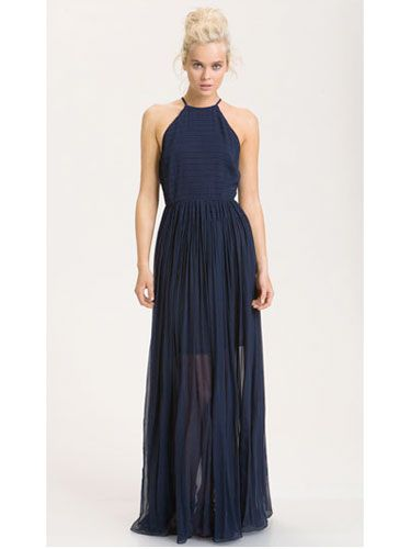 This navy halter dress, although it's quite a splurge, is pure perfection with its sexy, sheer overskirt and keyhole cutout in the back. Love this floor-length number but want a more casual look? Drop your hair down and wear sandals instead of going for an updo and donning heels.French Connection Sheer Overlay Halter Maxi Dress in Nocturnal, $268, Nordstrom.com. -Cosmopolitan.com