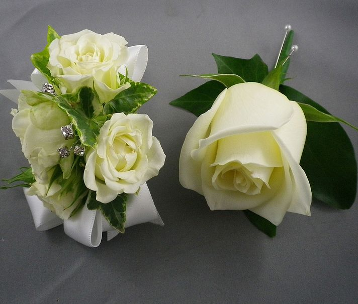 """His 'n Hers""  Matching white Boutonniere (rose) and Wrist Corsage (white spray rose)"