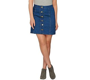 C. Wonder Stretch Denim Skirt with Status Buttons