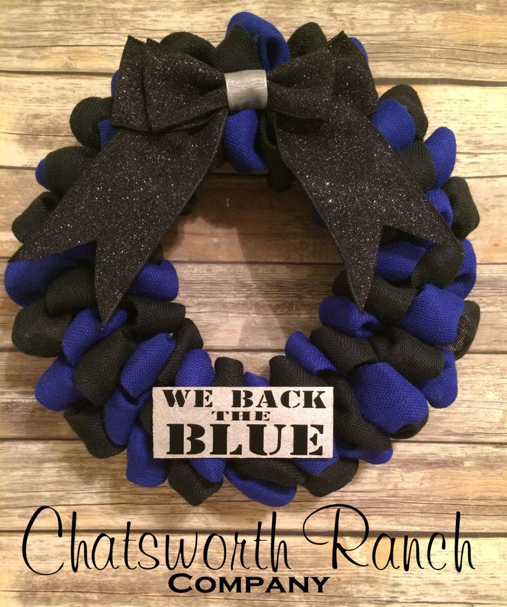 Police Officer Wreath - We Back the Blue - Police Support - Police Wreath - Law Enforcement - Burlap Wreath - Black & Blue - Police Officer by ChatsworthRanchCo on Etsy (null)