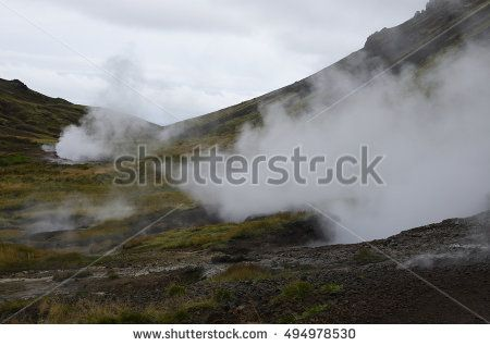 Steam comes out of geothermal vents in Iceland