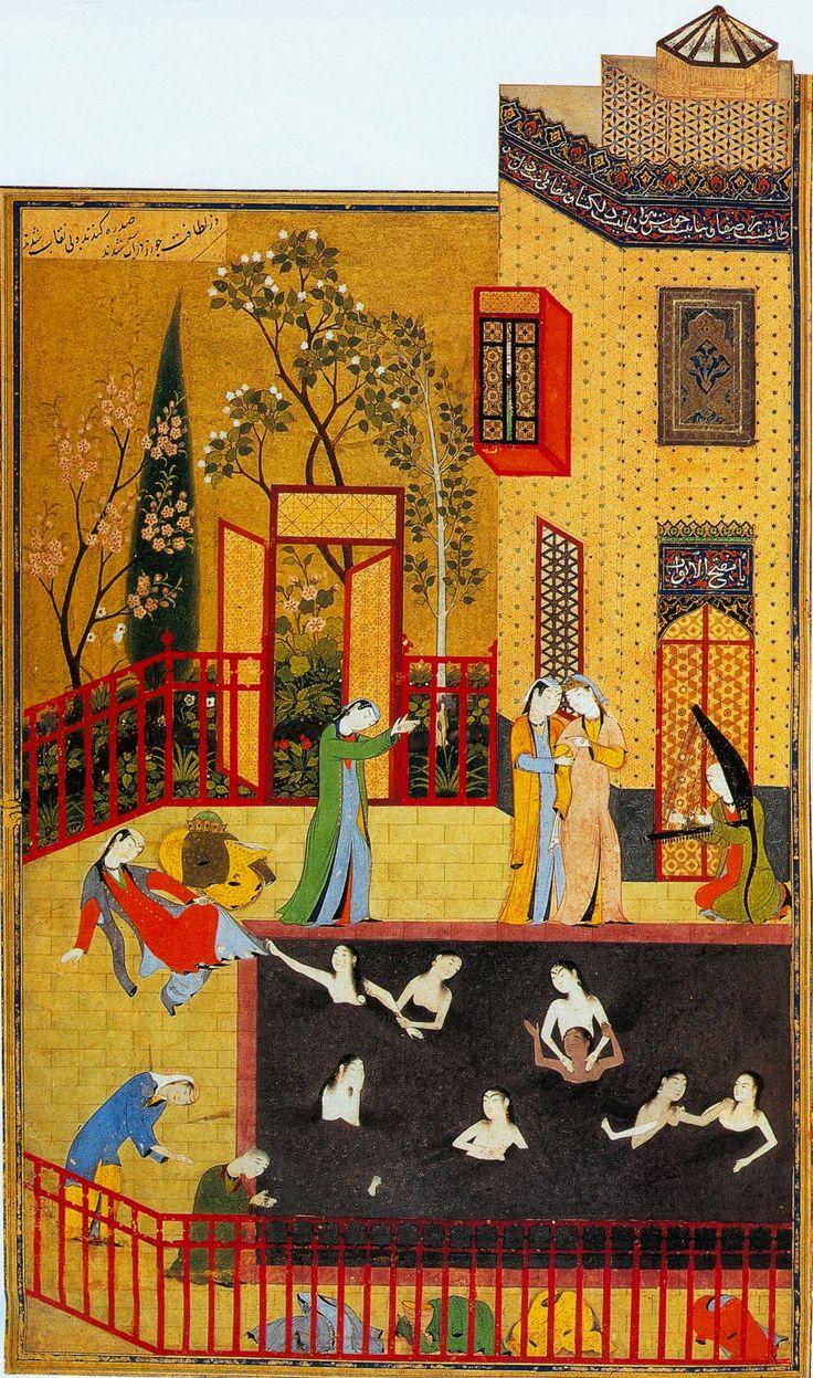 A miniature painting from the Iskandarnama, Behzad, 1495/6 http://en.wikipedia.org/wiki/Behzad