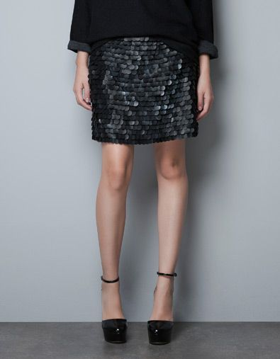 SKIRT WITH PAILLETTES - Skirts - Woman - ZARA