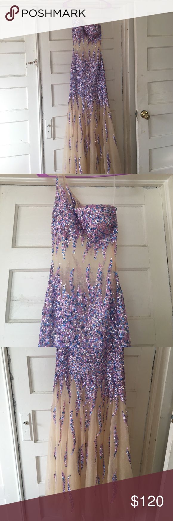 Prom or special occasion dress **sequin** Perfect for prom or New Years! Sequin / glitter blue and purple sheer tan dress --- i Love it! Received ample compliments.. just don't have anything in the future to wear it too. Dresses Prom