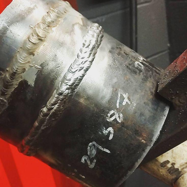 "Perfect 6"" inch 6G schedule 40 root - cap. Training being perfection. #plumbing #nyc #6g #weld #weldporn #pipe #smaw #welding #practice"
