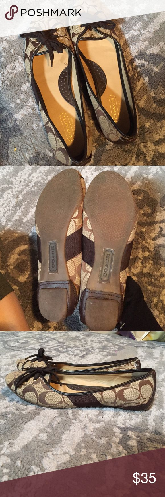 Coach Flats Minimal wear, good condition. It says it's a size 10 on the inside but they definitely fit like a small 8. Very Cute & Authentic! Coach Shoes Flats & Loafers