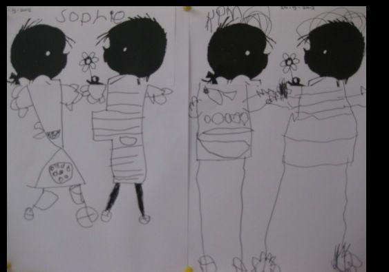 Plak de hoofdjes van Jip en Janneke open laat de kinderen zelf de lijfjes erbij tekenen