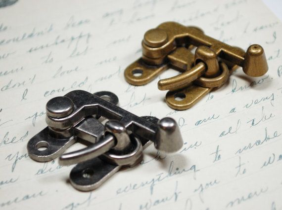 2 Large Swing Clasps Hardware - Antiqued Silver and Brass - Two Steampunk Closures