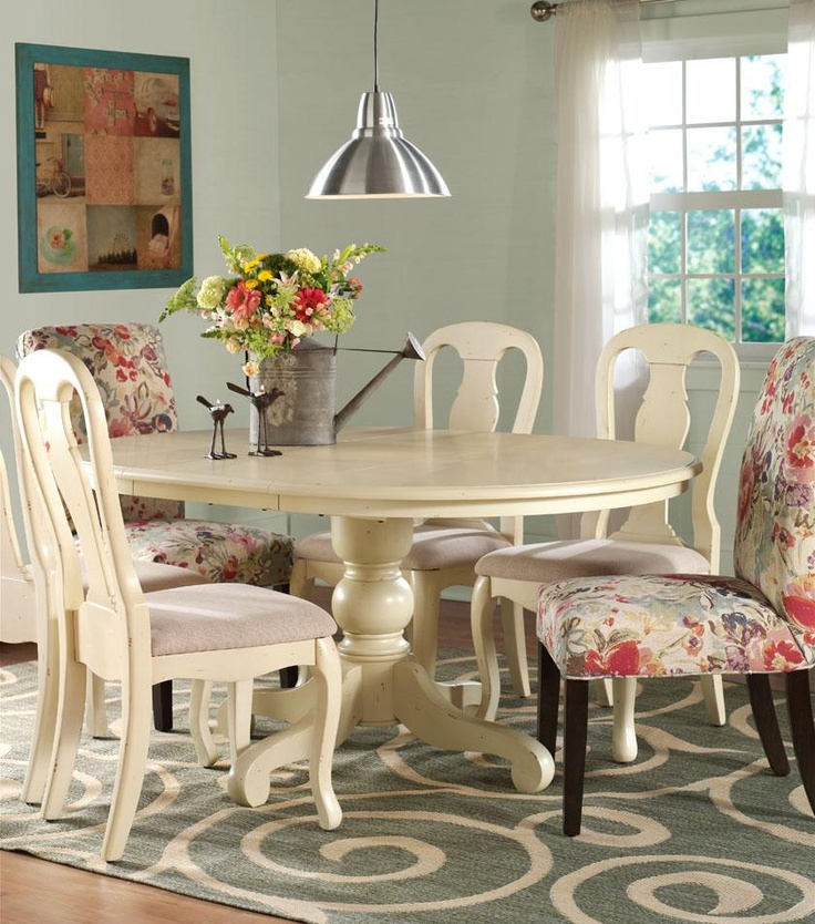 42 best images about painted dining room tables on for Painted round dining table and chairs