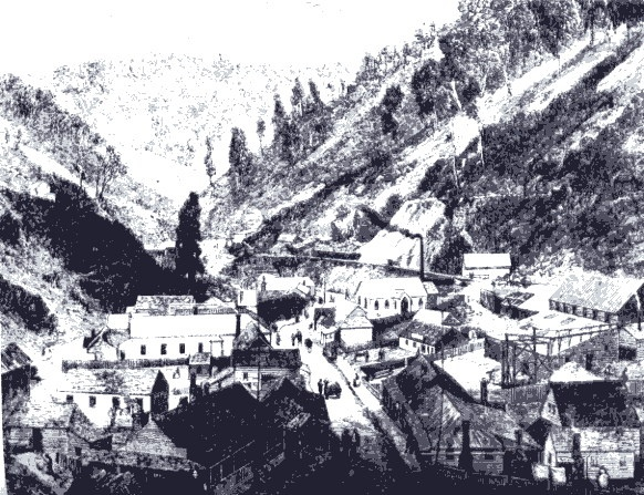 "Walhalla, Victoria"": 19th century drawing. Gold-Rush town in the Australian Alps"