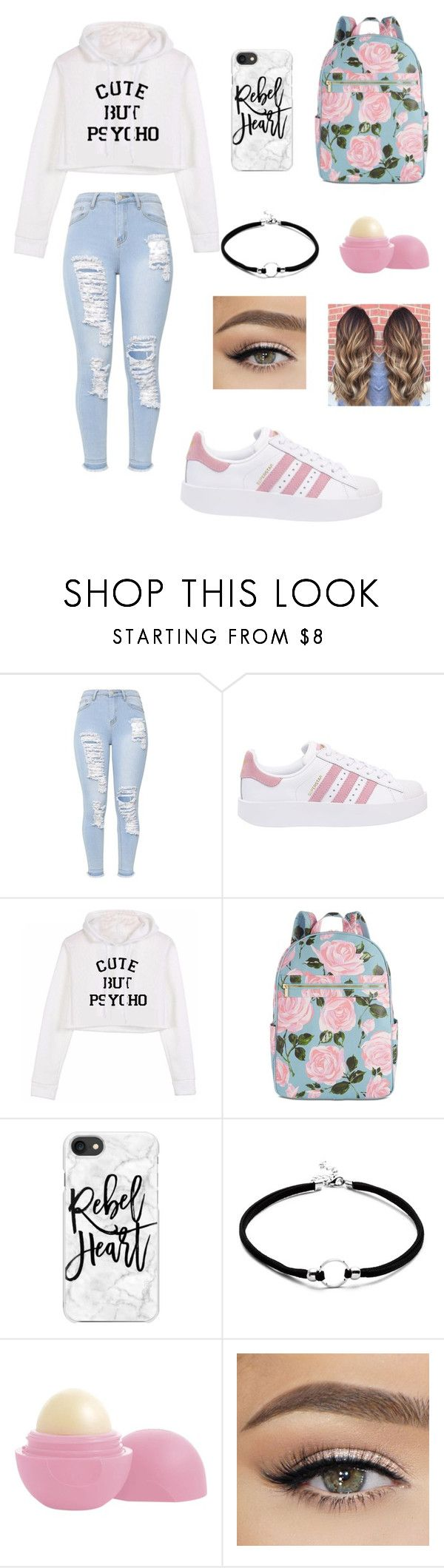 """""""first day in U"""" by awkwardnath on Polyvore featuring adidas Originals, ban.do, Casetify and Eos"""