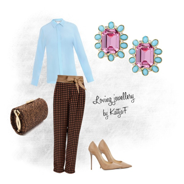 """""""Pastel earrings and trousers in pattern"""" by kattjaf on Polyvore"""