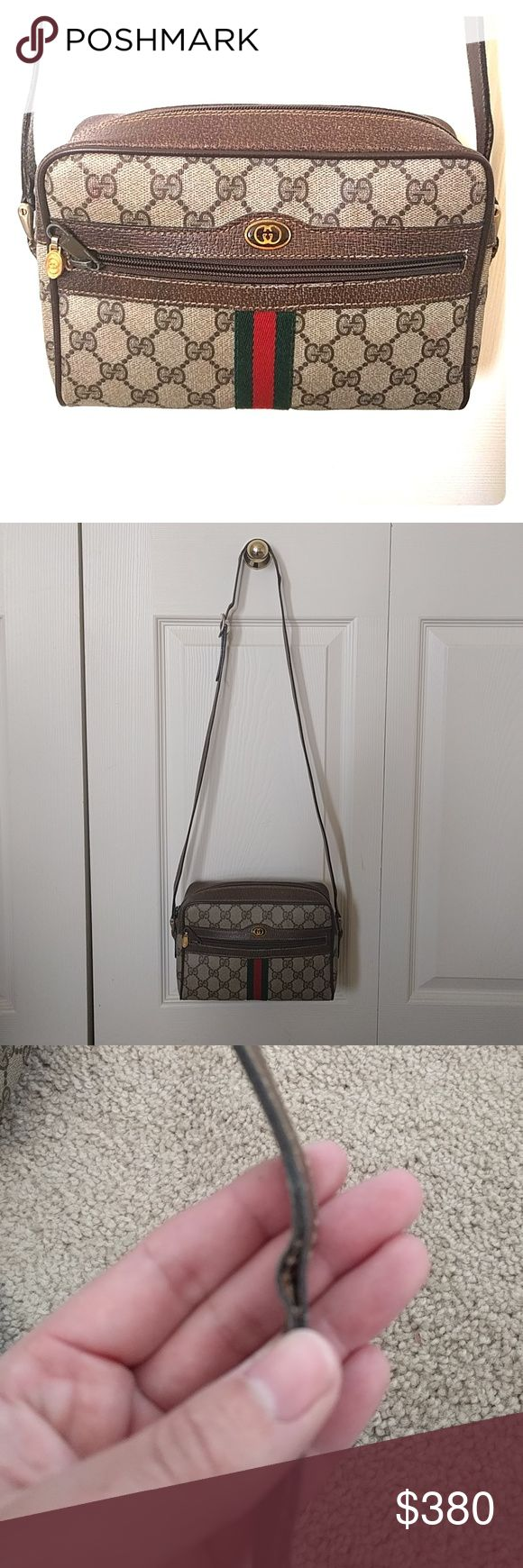 Vintage Gucci Crossbody Bag **Fixed Price** Gorgeous vintage Gucci bag.  Crossbody style.  Stitching coming apart on main strap due to age. See photos.  This is a well used bag but still in good condition. Zips all work and no rips or tears on main body of bag.  Inside a little dirty, again due to age and use.  This is in VINTAGE condition and NOT like a new bag.  Price is firm as don't really want to sell it but needs must! Gucci Bags Crossbody Bags