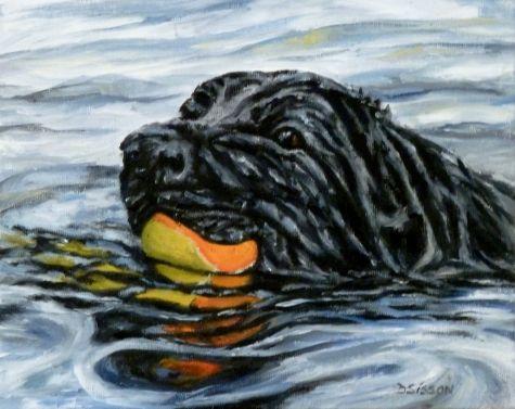 Water Sport Oil Painting Animal Art Labrador Dog Portrait, painting by artist Debra SissonArt Labrador, Oil Painting, Labrador Dogs