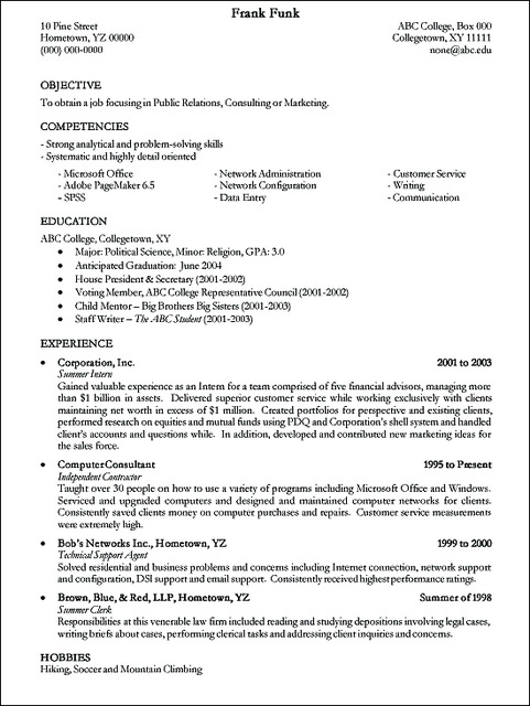 50 best Resume and Cover Letters images on Pinterest Sample - hobbies resume examples