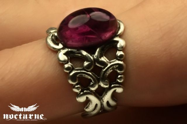 Gothic Ring with Amethyst Purple Stone - Silver Plated Adjustable Ring - Victorian Gothic Jewelry