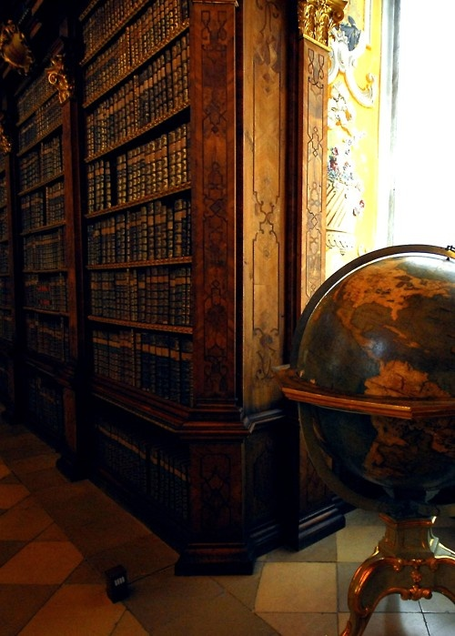 The Library in Melk Monastery, Austria. There are over 100,,000 books here, 8,000 written by hand