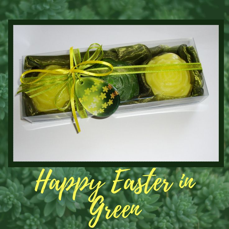 Chocolate is everywhere at Easter, why buy another gift with Chocolate? Try something interesting, unusual, unique: our Handmade Gift Set in Green-Yellow! A box with three Luxury Vegan Scented Soaps - two Yellow Colour, lemongrass scent and one green, tea fragrance - and a special handmade glass decorative Green-Yellow Easter Egg in the packaging. The glass decorative Easter Egg can also be used as Necklace or Festive ornament. An alternative gift idea for those on a tight budget.