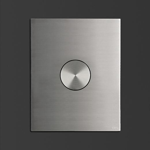 The Hydroplate minimal front plate with single button for flow cistern by CEA Design.