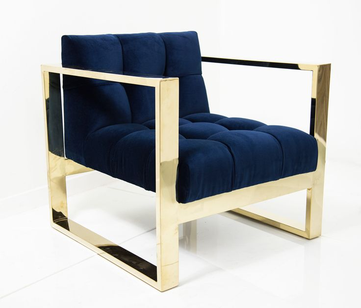 """A geometric form melds with the all tufted back and tight seat to create this wonderfully comfortable yet striking Kube Chair. Finished in Navy velvet and a brass U-Leg Frame. 31.5"""" Wide / 32.5"""" Deep"""