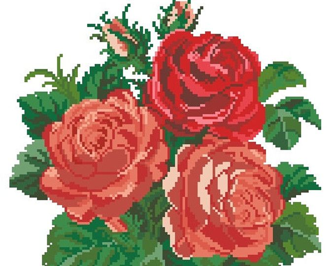 Roses bunch vintage pdf pattern for cross stitch, plush stitch and Berlinwork