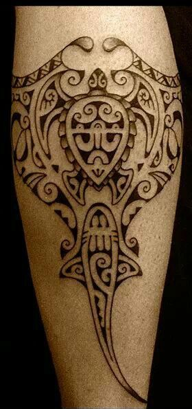Manta Ray - Shark - Turtle / Polynesian Tribal Calf Tattoo