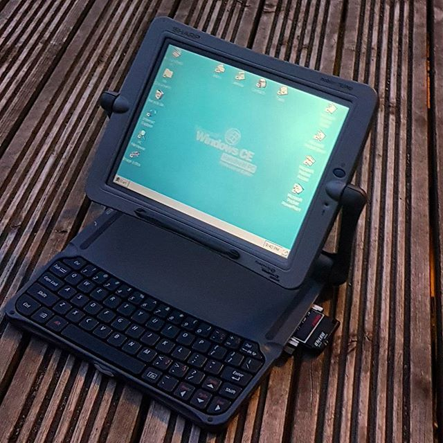 """The Sharp Mobilon Tripad PV-6000 released in 1998 for $899 in the US. The operating system was Microsoft Windows CE2.1.The Tripad was a innovative handheld PC design with a versatile multi-angled screen and great keyboard on a CE device. It had a 9.4"""" VGA touch screen 640 x 480 DSTN passive matrix display and an 80 MHz NEC MIPS processor, 16MB RAM and expansion slots for type II PC cards and CF. it also rocked an on board 33.6 modem. It was also known as the Vadem Clio in the US and never…"""