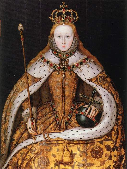 Elizabeth I... The Coronation Portrait by an Unknown Artist, c.1600. (National Portrait Gallery)...  From...  http://www.elizabethan-portraits.com/elizabeth_5.htm