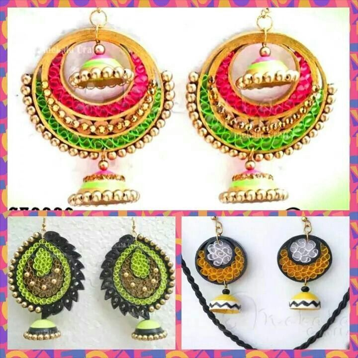 Paper Quilling Earrings Jhumka