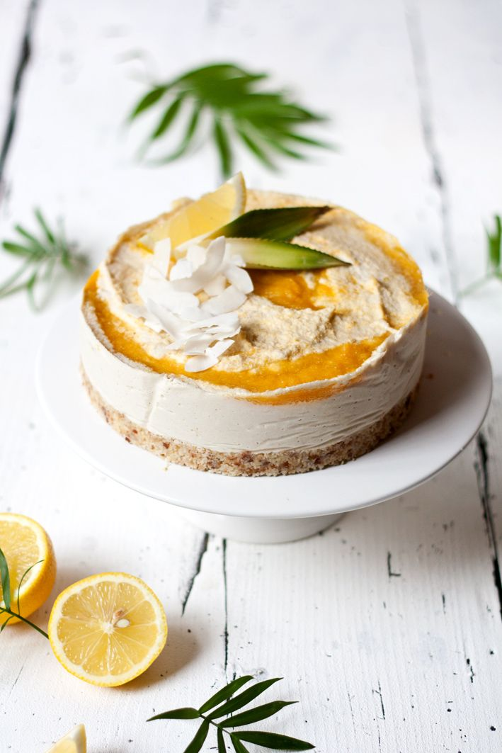 raw coconut mango cheesecake