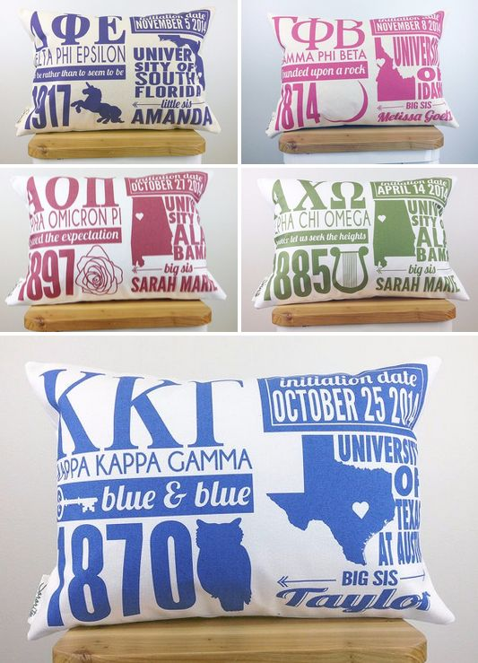 ❤ sorority sugar IN LOVE ❤ Totally cute & custom ~ choose your ink color, college, city, state and 2 of the following: Bid Day, Initiation Date, Chapter, Big Name, Little Name, or any other detail you would like on your pillow. What a fabulous graduation keepsake gift, big/little sugar, or new member giftie!! xoxo ❤ SORORITEE ❤ https://www.etsy.com/shop/Sororitee