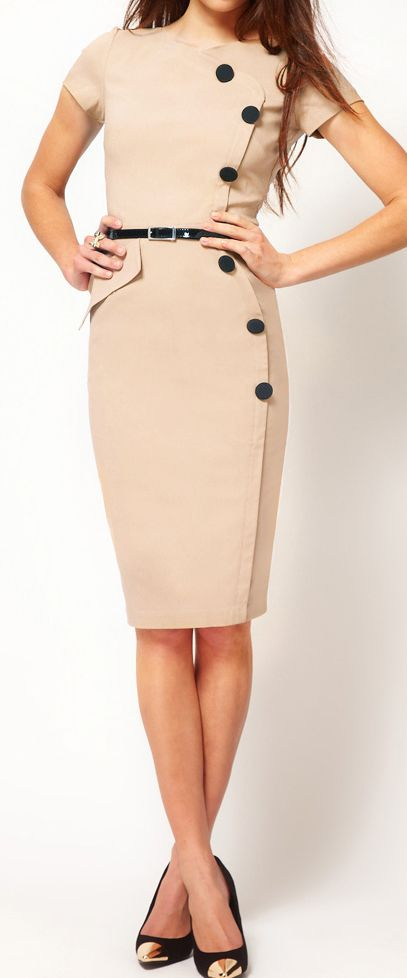 Classic pencil dress Absolutely love this dress. Beige/tan with thin belt an side buttons.