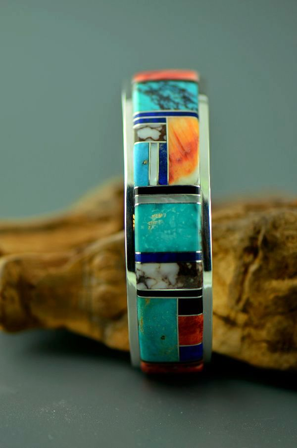 Sterling Silver Turquoise, Lapis, Jet, Spiny Oyster Shell, Charoite and Mother of Pearl Inlaid Bracelet by Lucy Cayatineto, Navajo