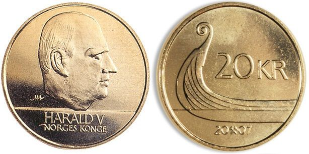'Norwegian Krone' 1994-2009. Copper. Harald V and Longboat. Harald was an avid sailor and represented Norway in the yachting events on three Olympic Games.