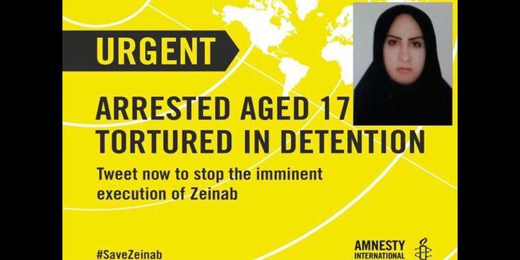 İran'da şiddet gördüğü kocasını öldürdüğü gerekçesiyle idama mahkum edilen 22 yaşındaki Zeynep Sekaanvand, bugün infaz edilecek. Uluslararası Af Örgütü, infazın iptalini istiyor. #Amnesty #Amnestyint #Iran #Zeinab #SaveZeinab