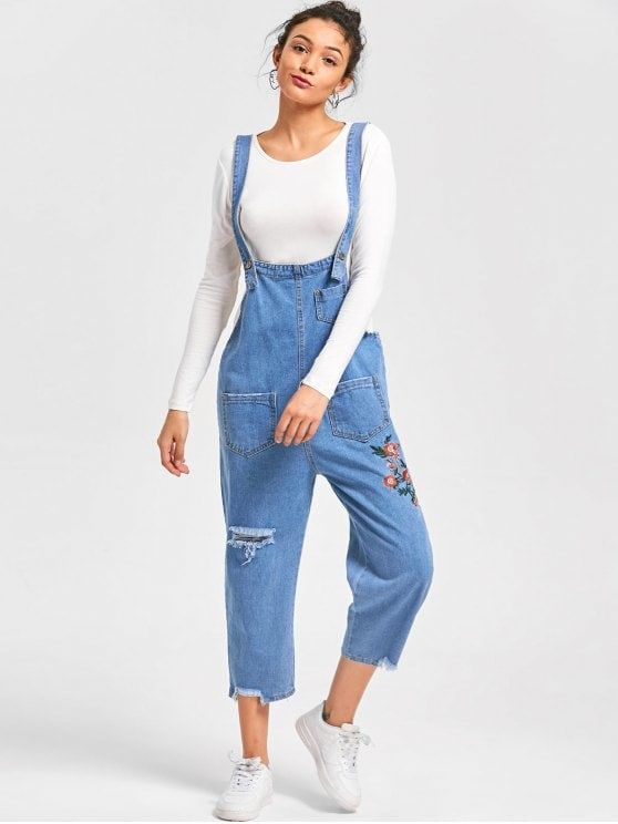 776b10fd90e6 Embroidery  Frayed  Jean Drop Crotch  Jumpsuit - CLOUDY