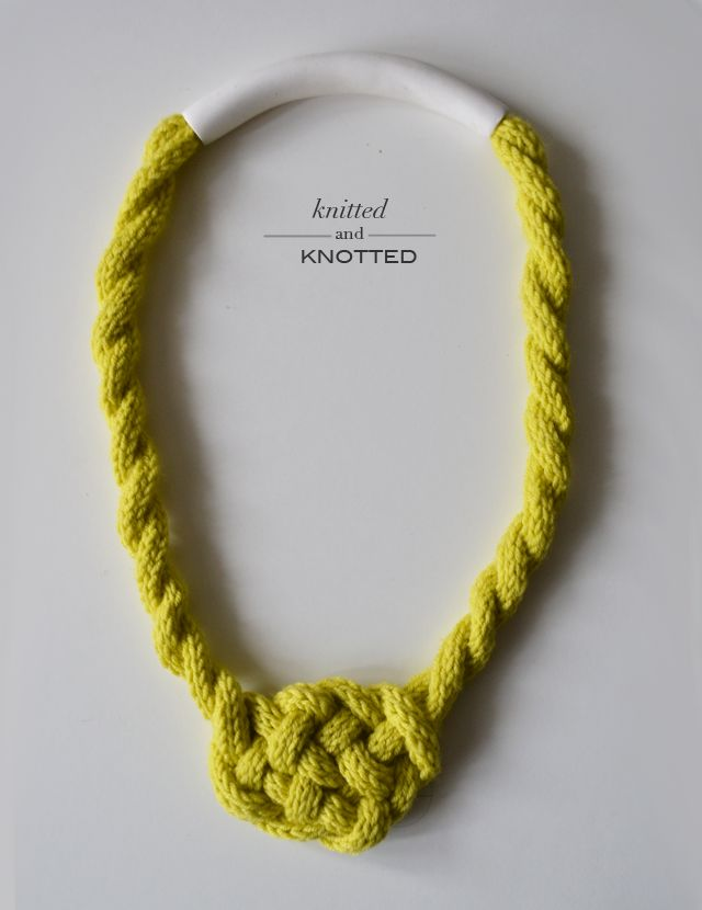 Check out this knitted wool Celtic Knot necklace by Ella Leoncio.  Try it in Wool-Ease or Vanna's Palettes for a multicolored accessory to wear this fall.