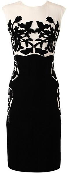 BOTTEGA VENETTA Silk Dress with Velvet Applique