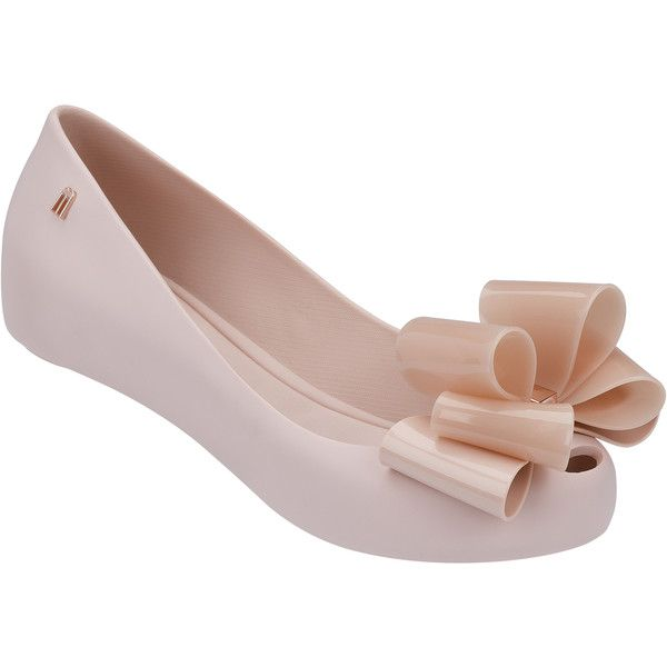 Melissa Ultragirl Twin Bow Blush ($98) ❤ liked on Polyvore featuring shoes, flats, flat pumps, hidden wedge shoes, melissa shoes, flat heel shoes and flat shoes